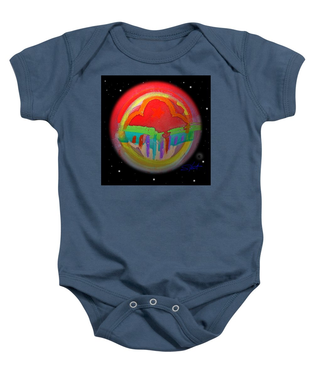 Landscape Baby Onesie featuring the painting Red Planet by Charles Stuart