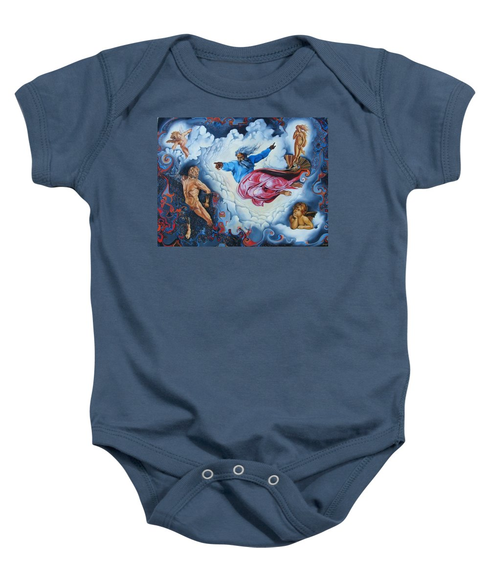 Surrealism Baby Onesie featuring the painting Redemption by Darwin Leon