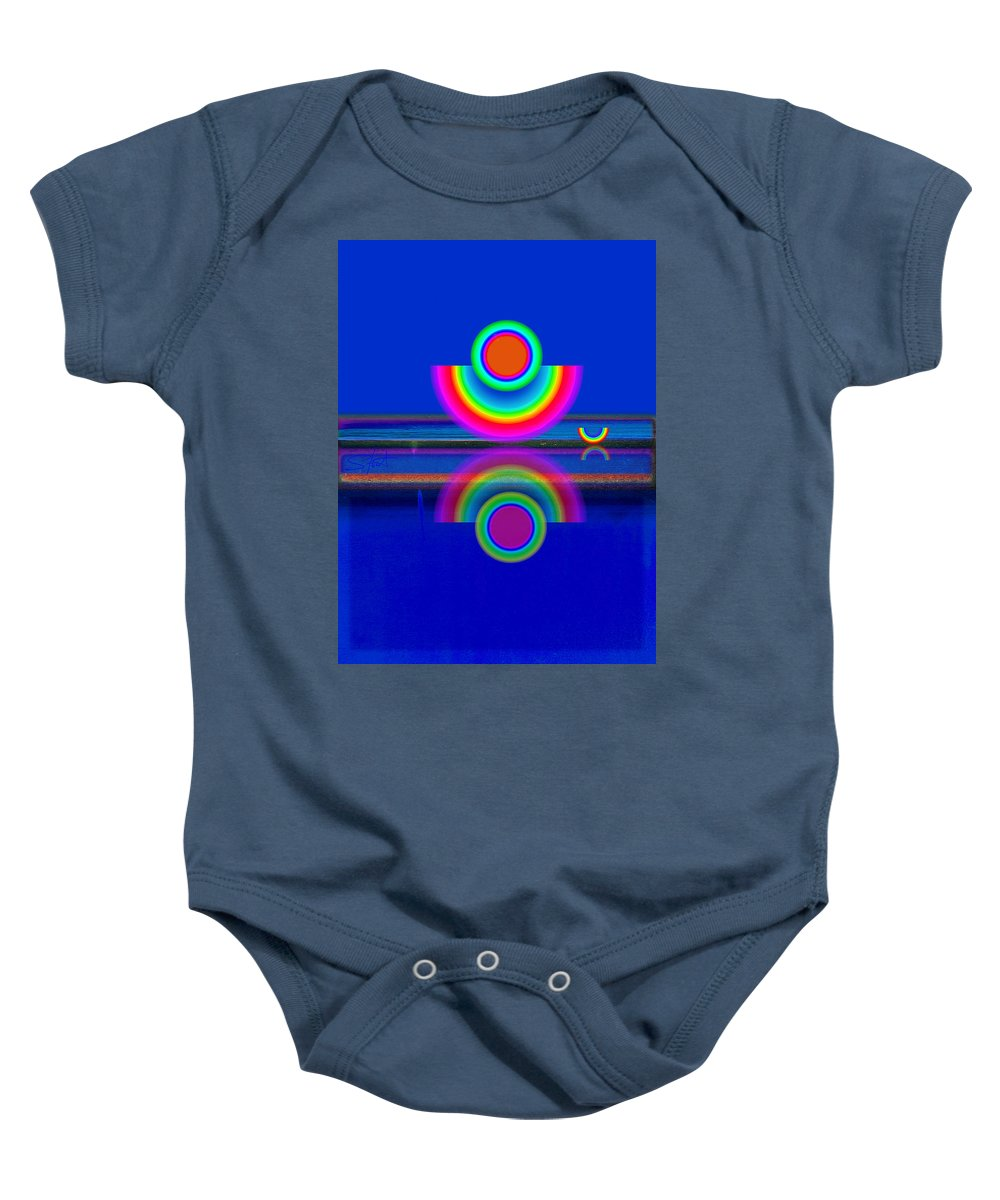 Reflections Baby Onesie featuring the painting Reflections On Blue by Charles Stuart