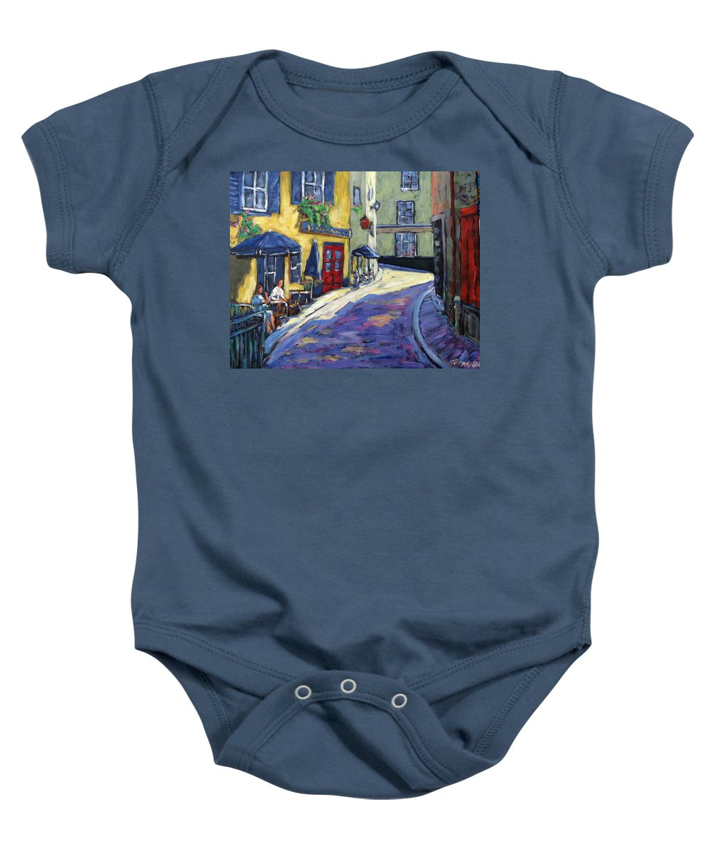 Restaurant Baby Onesie featuring the painting Resto Le Cochon Dingue In Old Quebec by Richard T Pranke