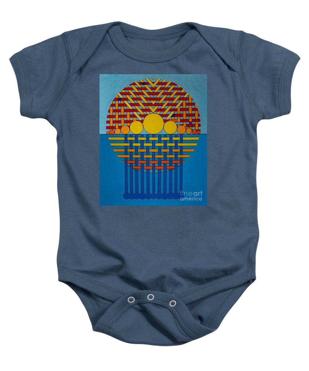 Lake Michigan Baby Onesie featuring the drawing Rfb0700 by Robert F Battles