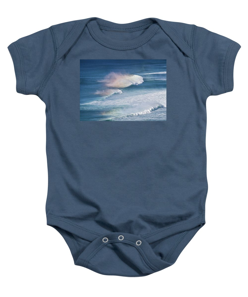 Surf Baby Onesie featuring the photograph Riding The Waves by Shirley Mitchell