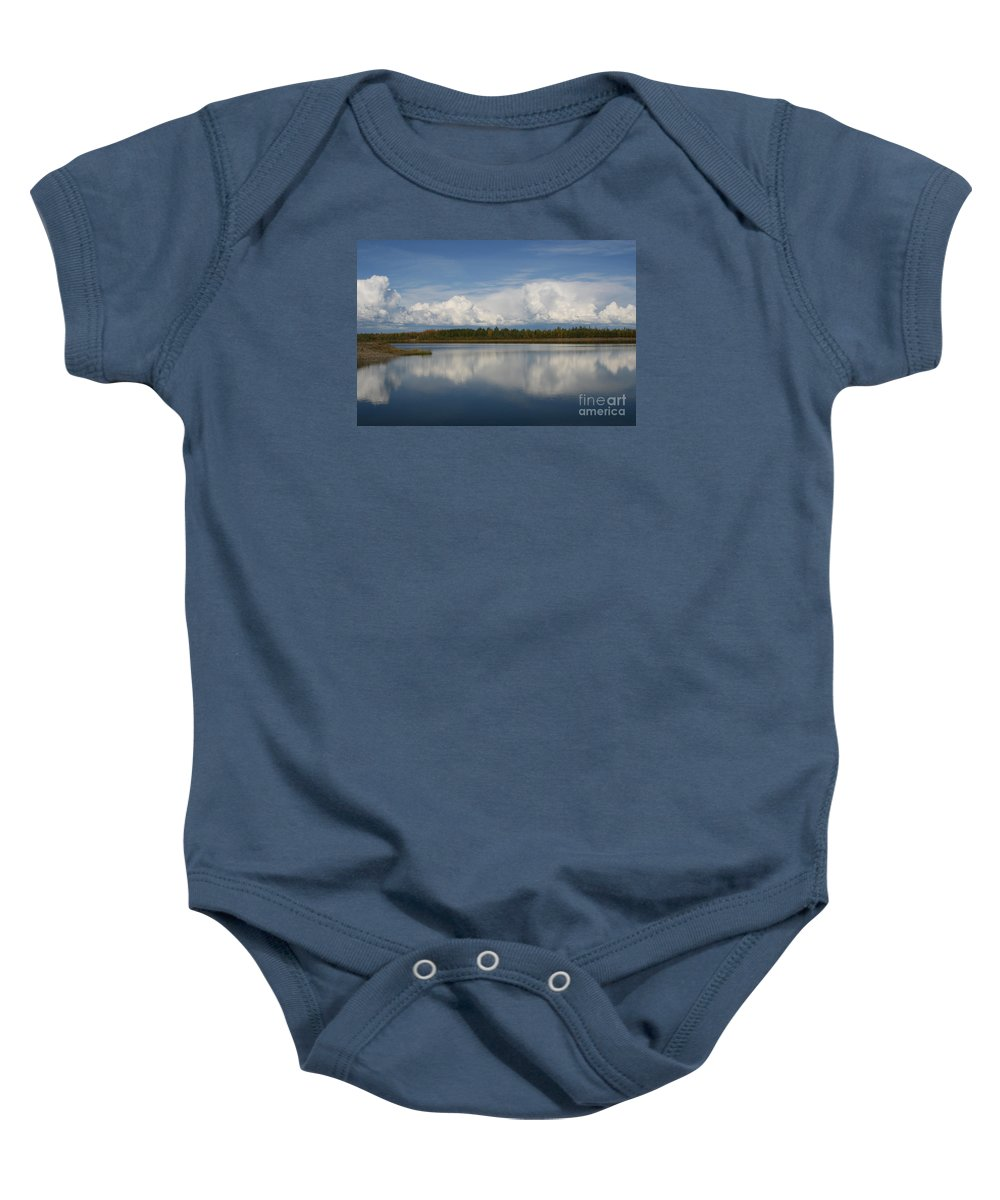 River Of Clouds Baby Onesie featuring the photograph River Of Clouds by Sharon Mau