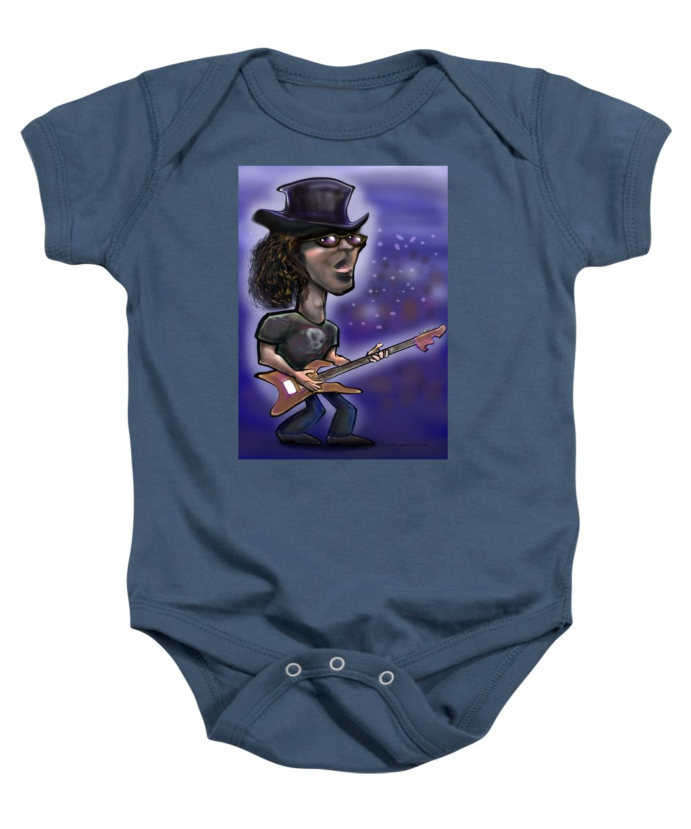 Rock Baby Onesie featuring the painting Rockstar by Kevin Middleton