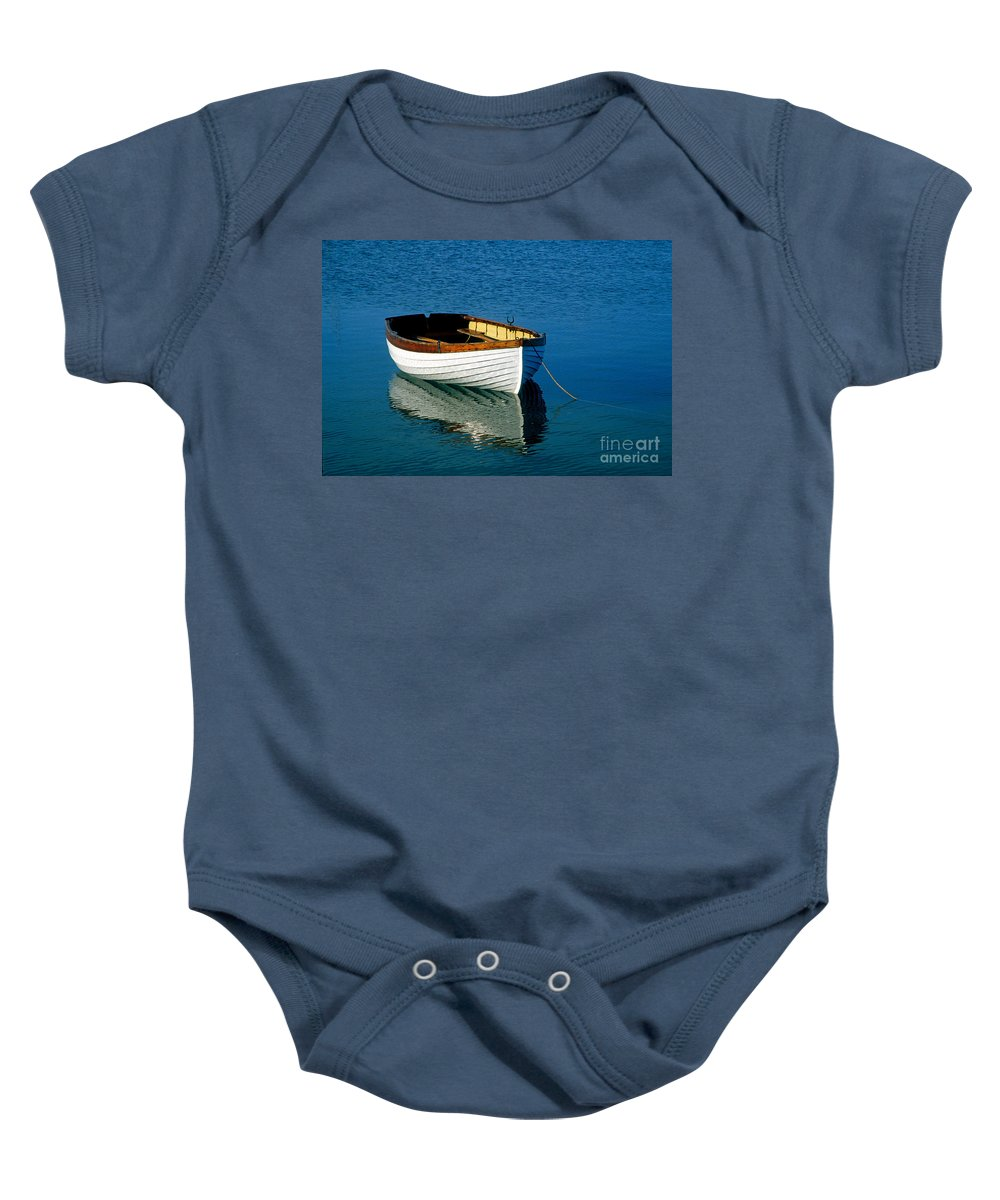 cape Cod Baby Onesie featuring the photograph Rustic Wooden Row Boat. by John Greim