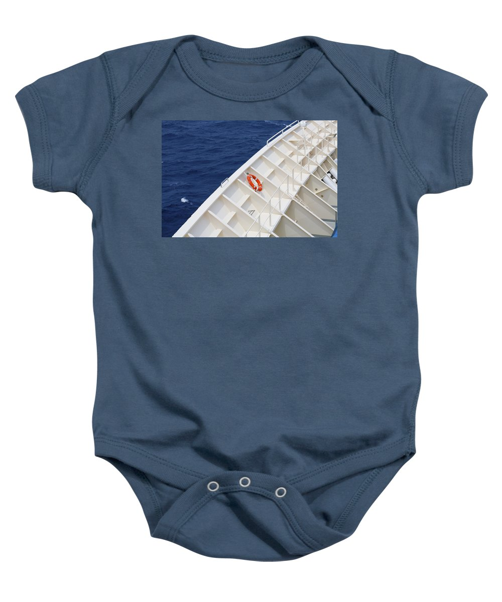 Life Belt Baby Onesie featuring the photograph Safety At Sea by Diane Macdonald