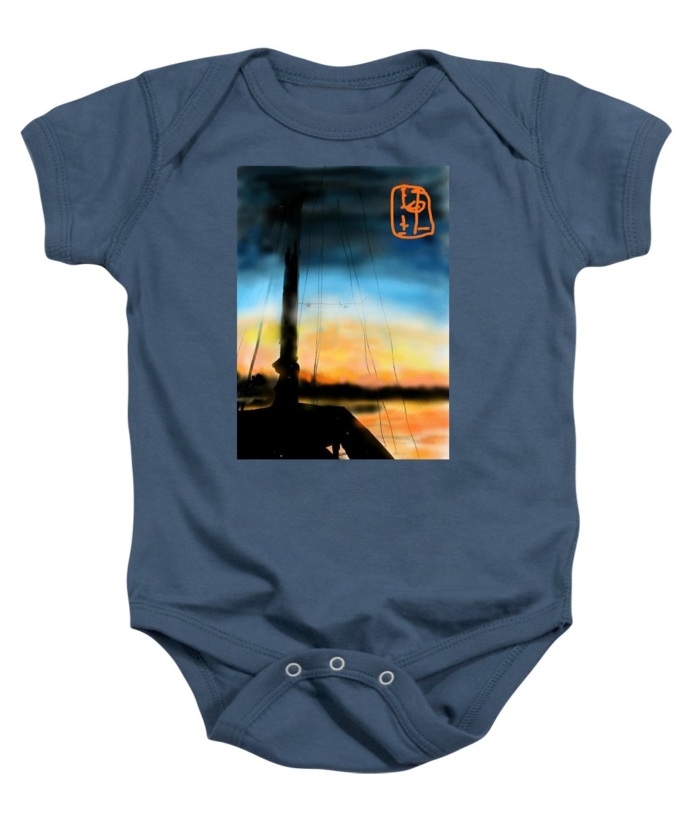 Seascape. Sunset. Il Mare. Baby Onesie featuring the digital art Sailing The Amalfi Coast by Debbi Saccomanno Chan