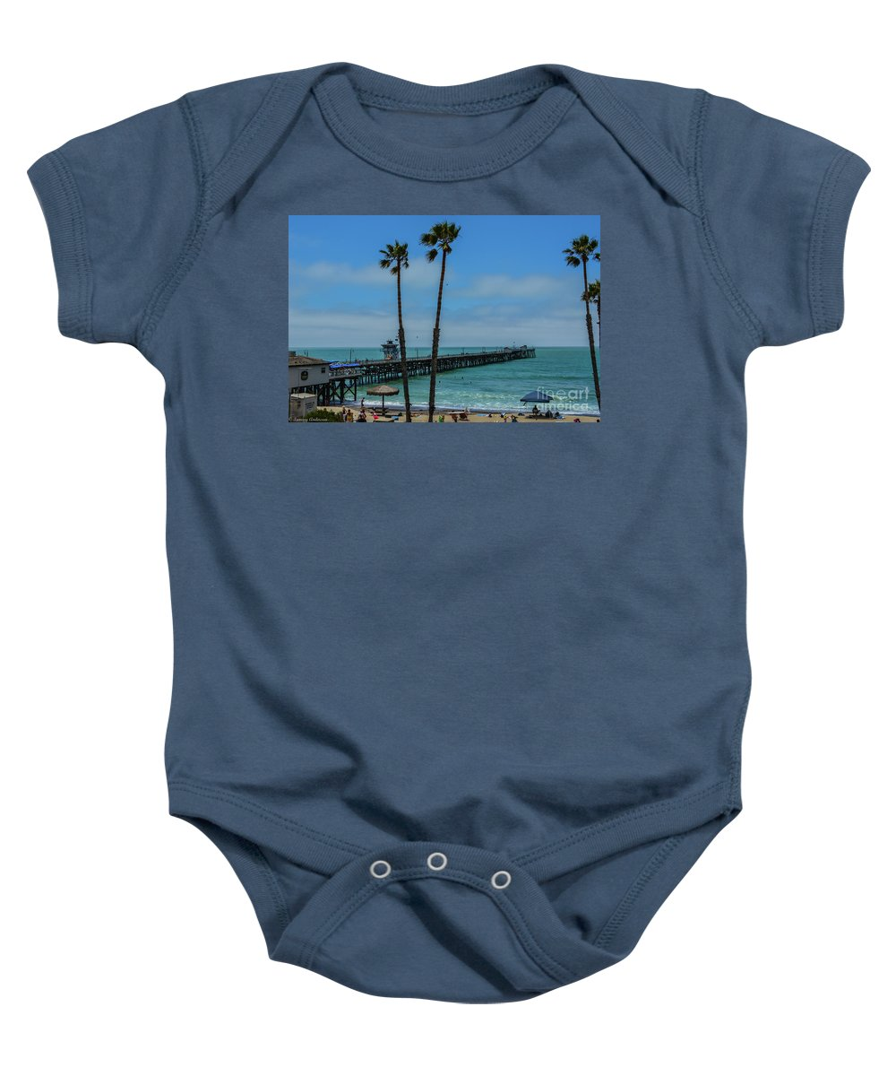 Warf Baby Onesie featuring the photograph San Clemente Peir by Tommy Anderson