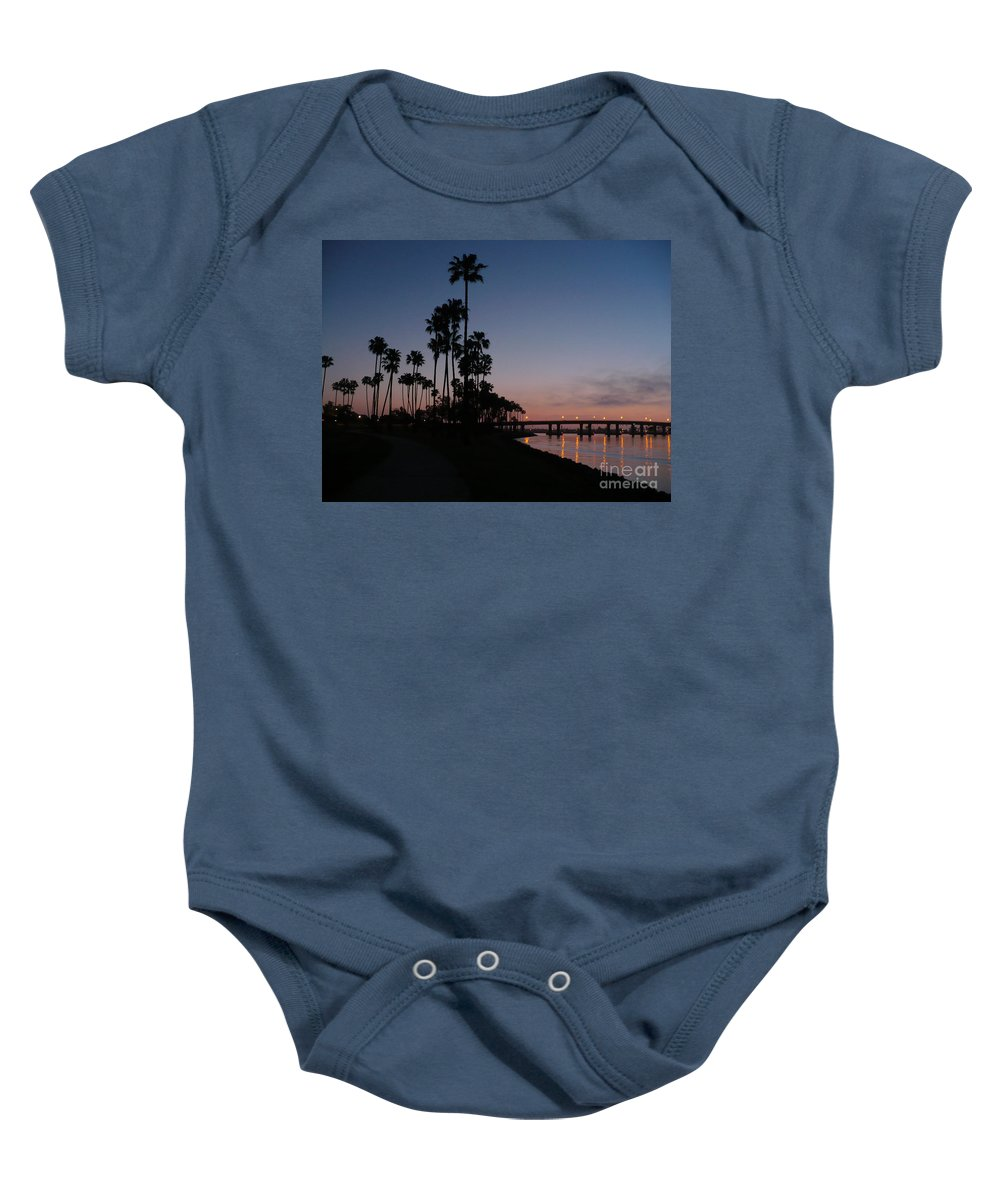 Sunset Baby Onesie featuring the photograph San Diego Sunset With Palm Trees by Carol Groenen