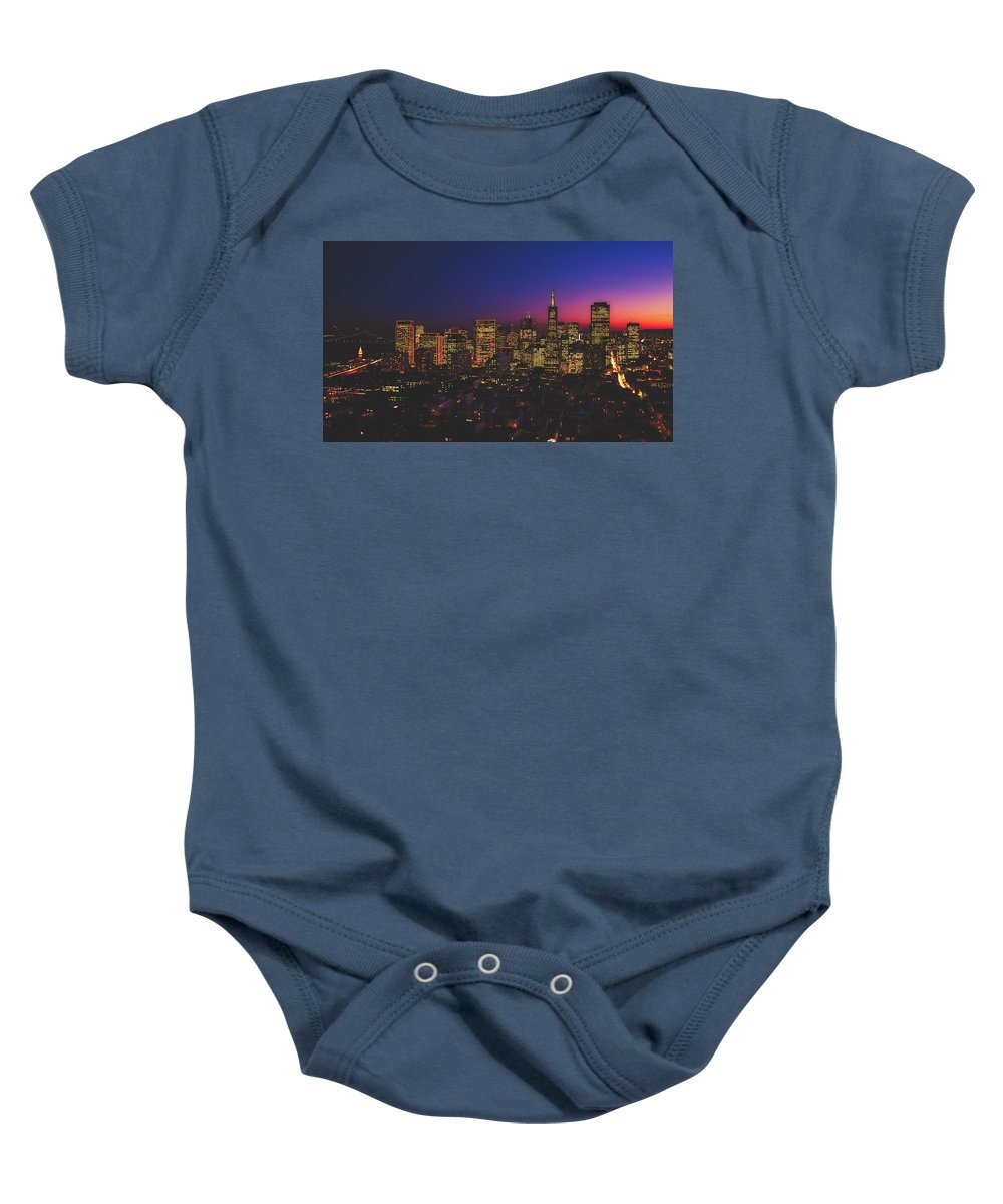 San Francisco Baby Onesie featuring the photograph San Francisco At Sunset by Library Of Congress