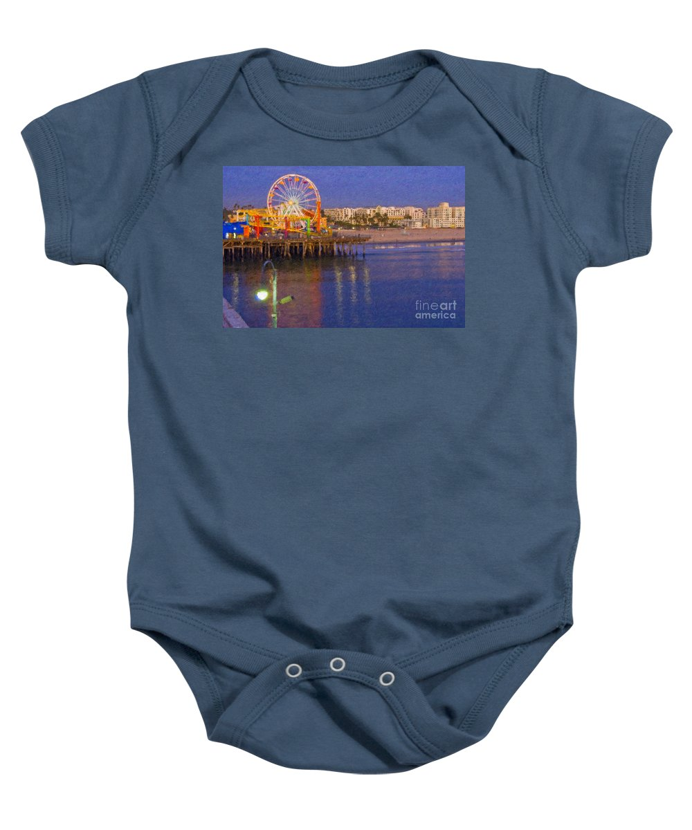 Santa Monica Baby Onesie featuring the photograph Santa Monica Pacific Park Pier And Lowes Hotel by David Zanzinger