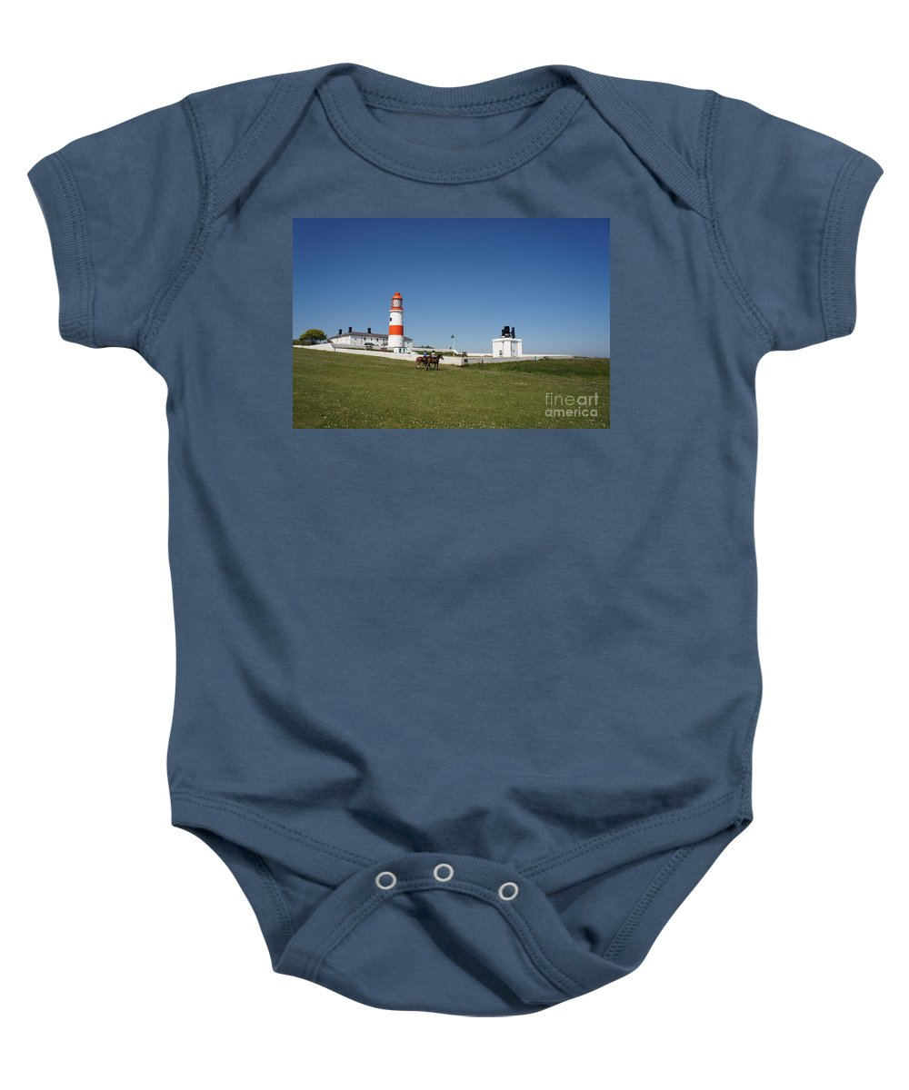 Lighthouse Baby Onesie featuring the photograph Souter Lighthouse And Foghorn. by Elena Perelman