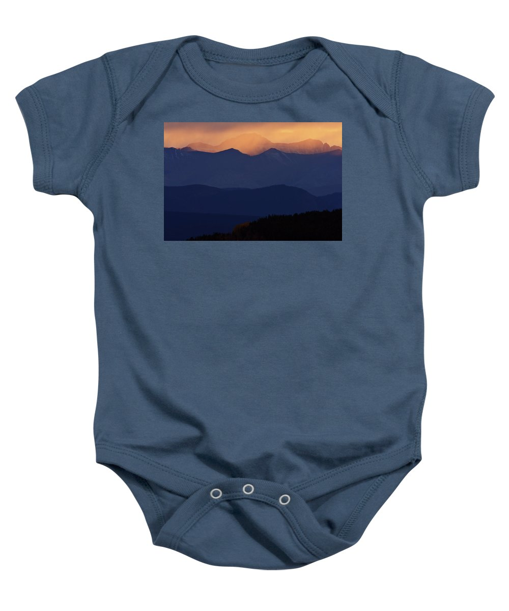 Mountains Baby Onesie featuring the digital art Scenic Northern Rockies Of British Columbia by Mark Duffy