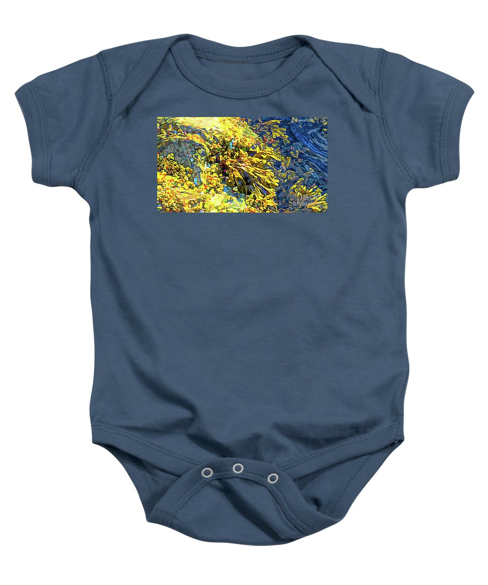 Wall Art Baby Onesie featuring the photograph Seaweed On Rock In Ocean by Josephine Cleopahrt