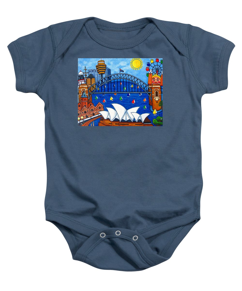 House Baby Onesie featuring the painting Sensational Sydney by Lisa Lorenz