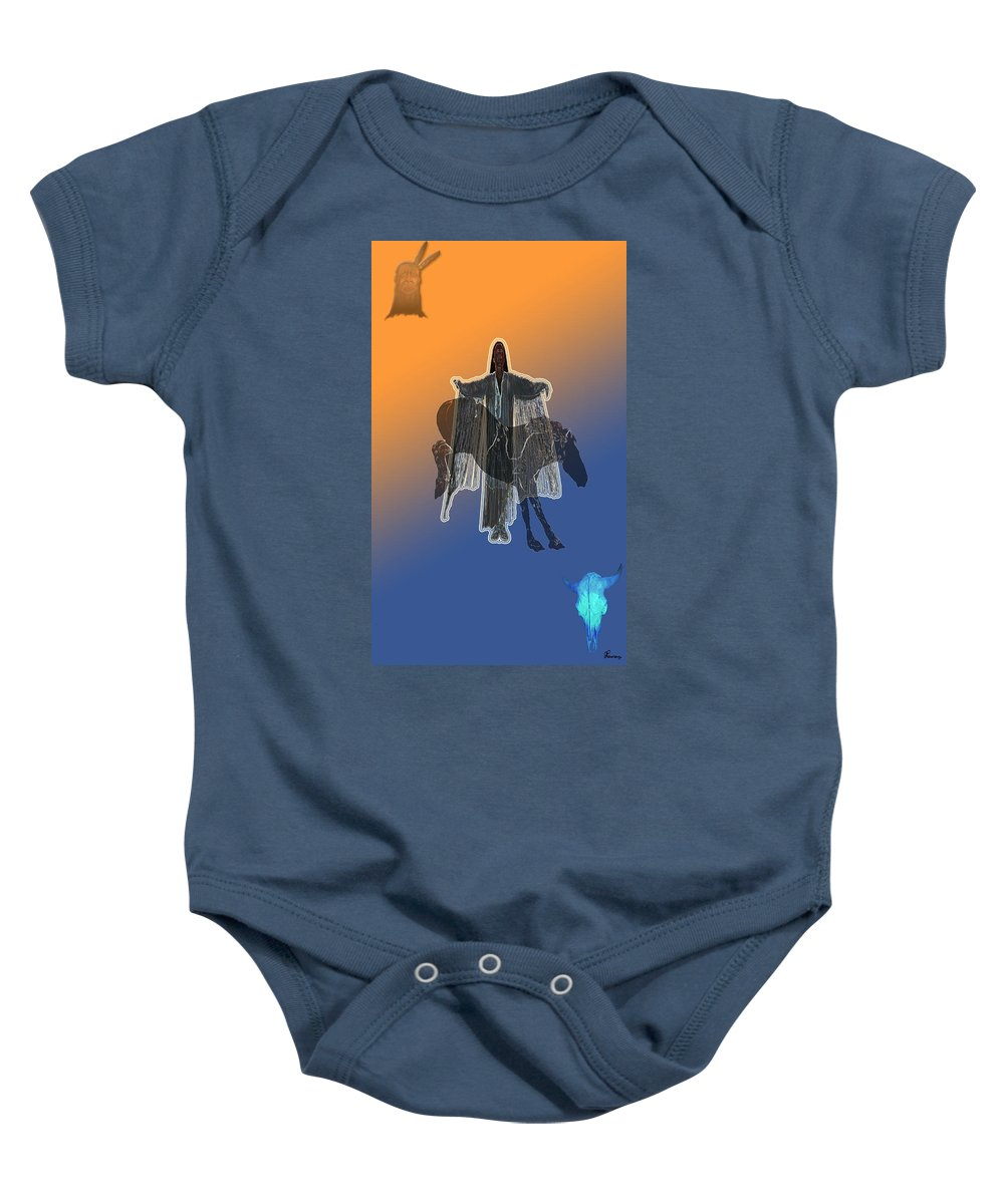 Native Woman Horse Man Buffalo Skull Spiritual Indian Baby Onesie featuring the digital art She Danced by Andrea Lawrence