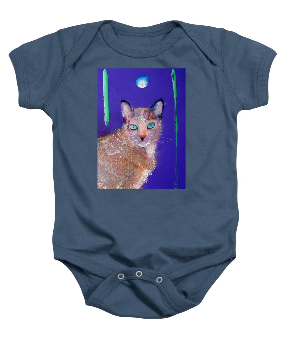 Cat Baby Onesie featuring the painting Siamese Cat by Charles Stuart