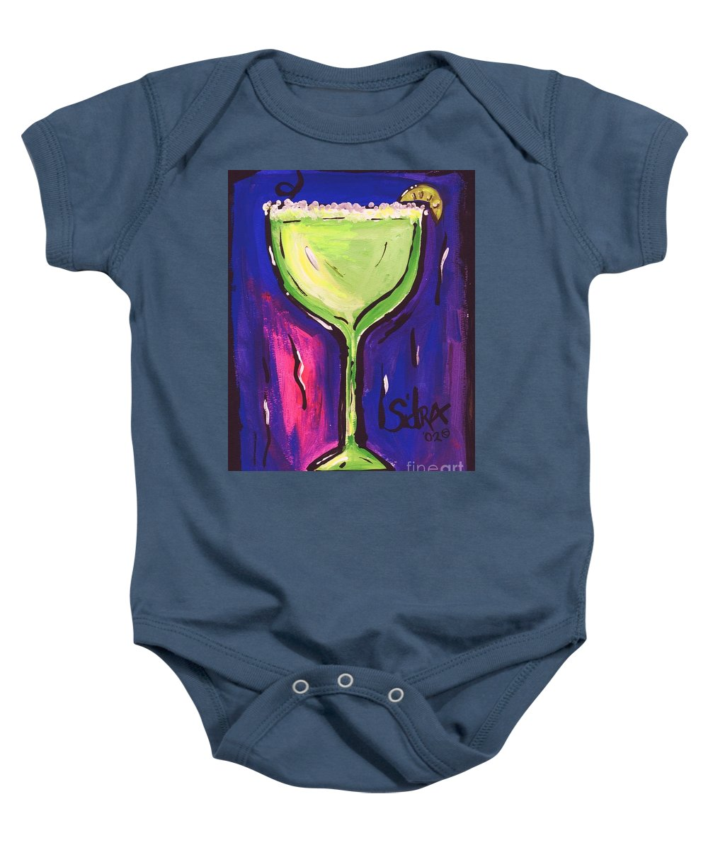 Margarita Baby Onesie featuring the painting Sidzart Pop Art Series 2002 Margarita Baby by Sidra Myers