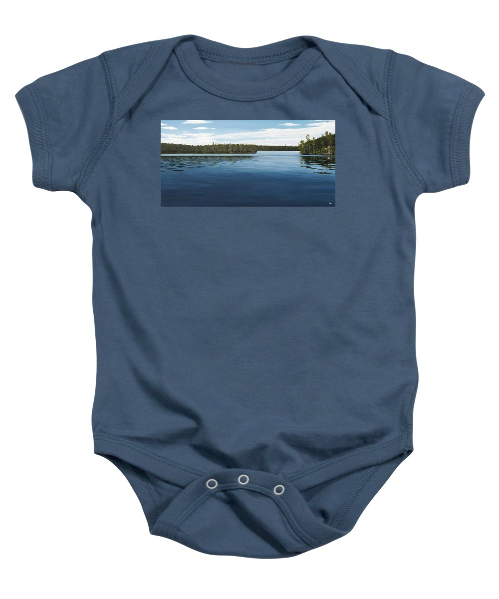 Landscapes Baby Onesie featuring the painting Skinners Bay Muskoka by Kenneth M Kirsch
