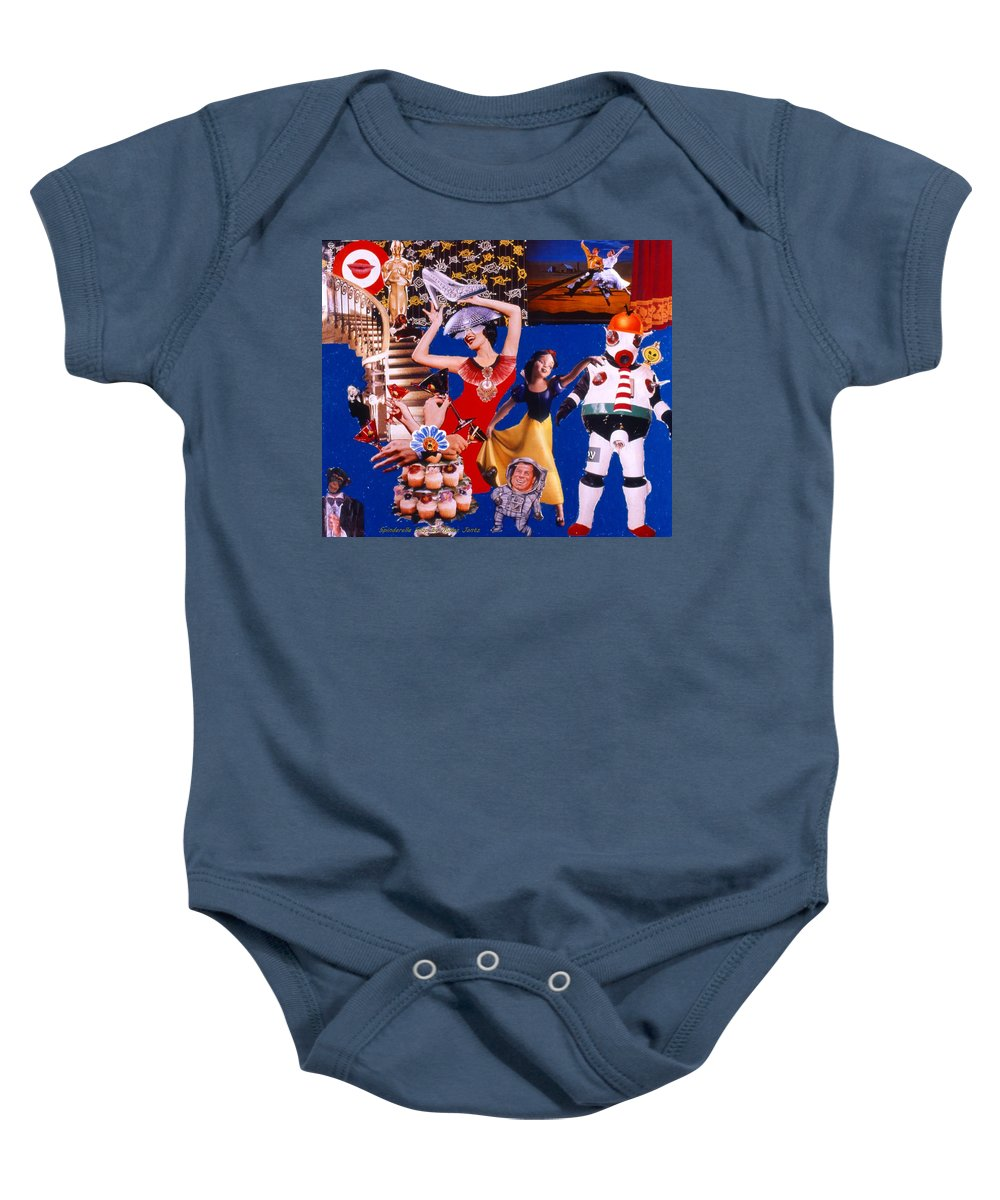Surreal Baby Onesie featuring the drawing Soap Scene #23 Oscar's Kiss Of Success by Minaz Jantz