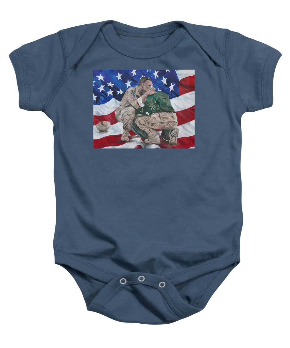 Soldiers Baby Onesie featuring the painting Soldiers by Travis Day