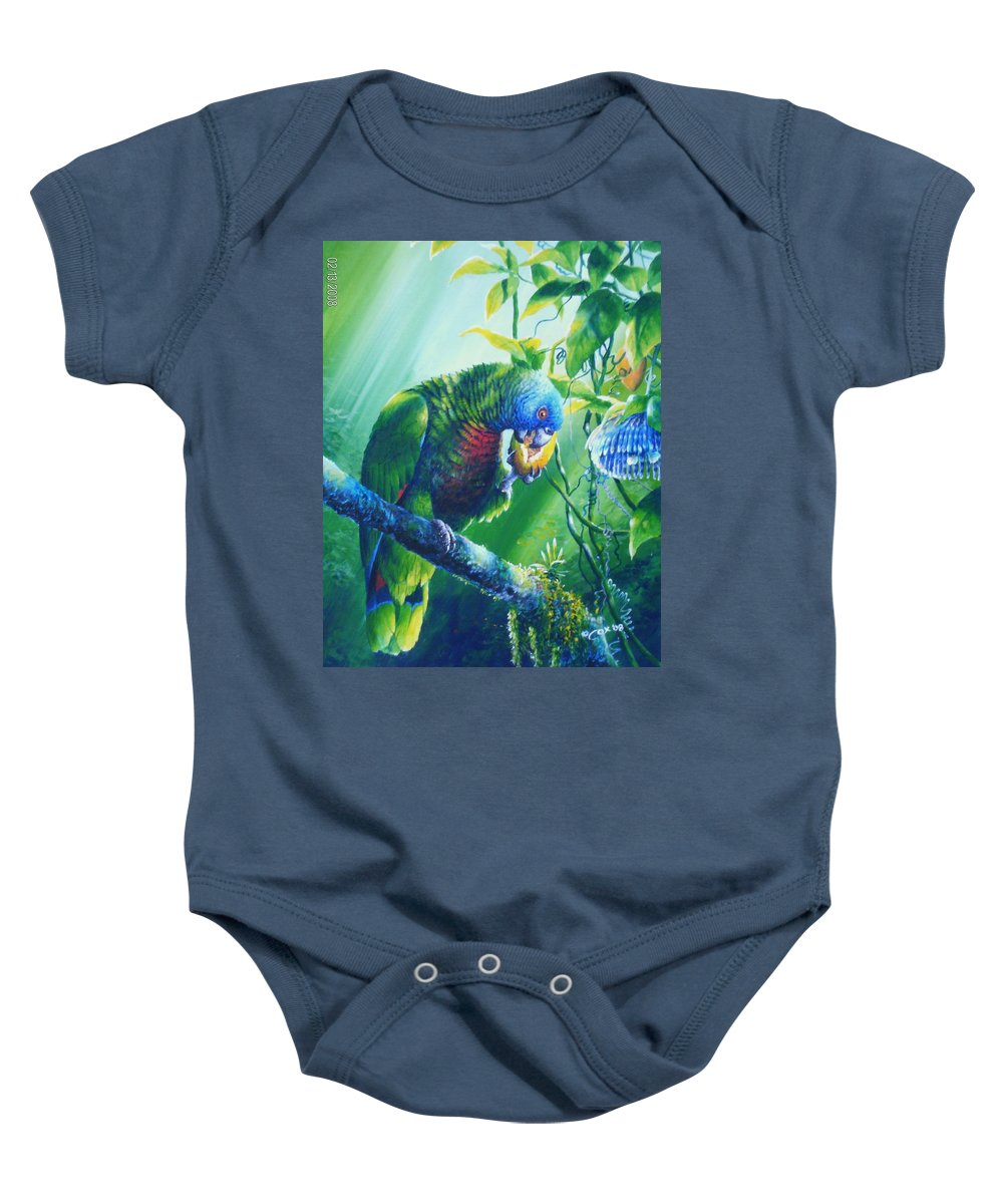 Chris Cox Baby Onesie featuring the painting St. Lucia Parrot And Wild Passionfruit by Christopher Cox