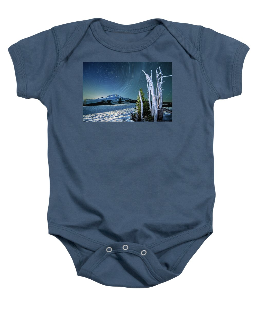Landscape Baby Onesie featuring the photograph Star Trails Over Mt. Hood by William Freebilly photography