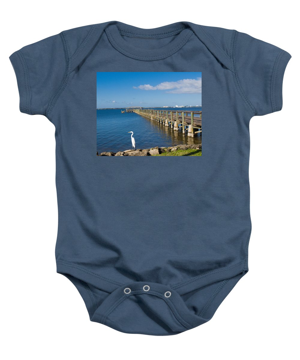 Florida; Melbourne; Beach; Atlantic; Coast; East; Space; Pier; Pineapples; Steamboat; Load; Cargo; I Baby Onesie featuring the photograph Steamboat Landing Ot Melbourne Beach In Florida by Allan Hughes