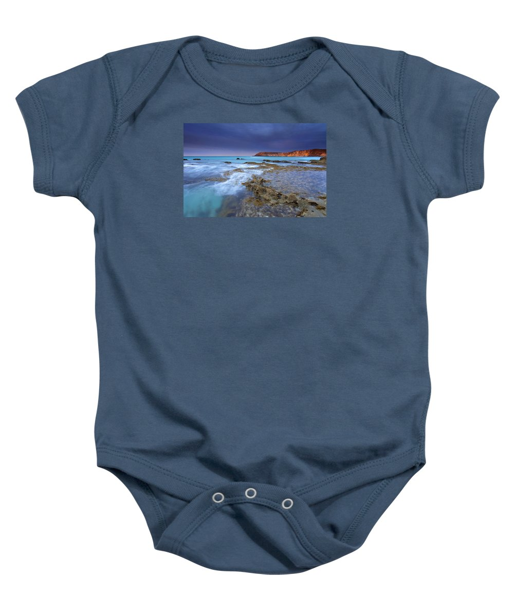 Dawn Baby Onesie featuring the photograph Storm Light by Mike Dawson