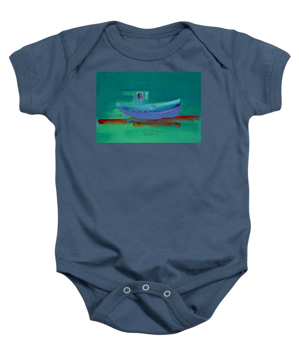 Deep Baby Onesie featuring the painting Stormbringer by Charles Stuart