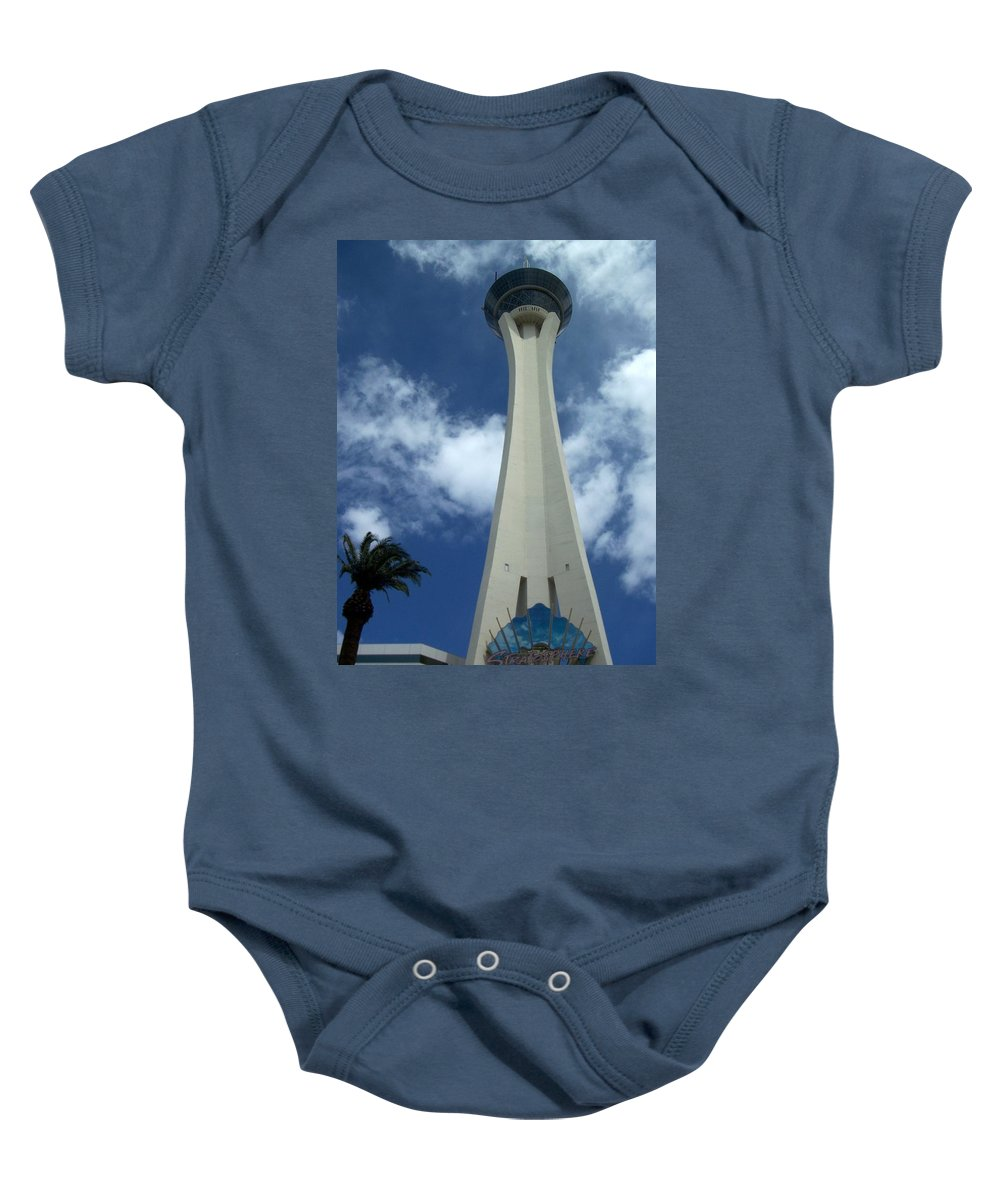 Stratosphere Tower Baby Onesie featuring the photograph Stratosphere Tower by Anita Burgermeister