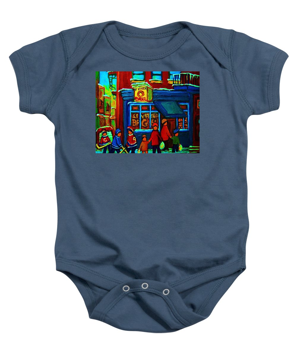 Montreal Bagelshop Baby Onesie featuring the painting St.viateur Bagel And Hockey Kids by Carole Spandau