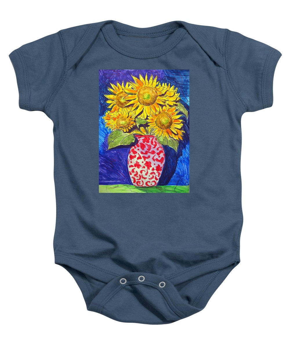 Sunflower Baby Onesie featuring the painting Sunny Disposition by Jean Blackmer