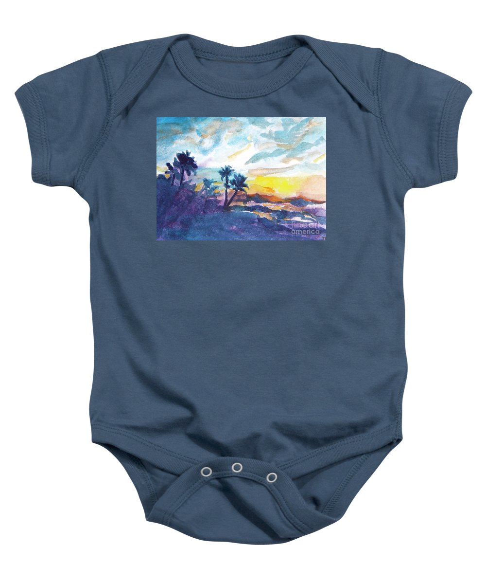 Landscape Baby Onesie featuring the painting Sunset In Hawaii by Jan Bennicoff