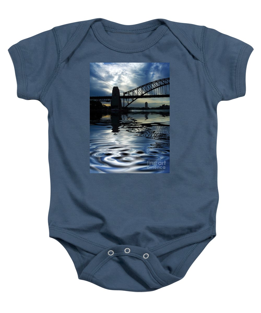 Sydney Harbour Australia Bridge Reflection Baby Onesie featuring the photograph Sydney Harbour Bridge Reflection by Sheila Smart Fine Art Photography