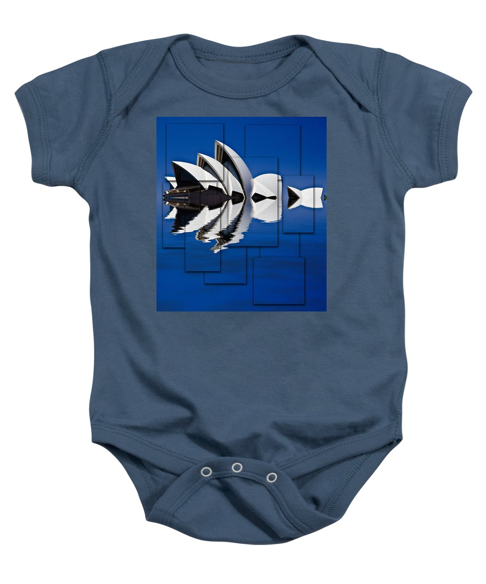 Sydney Opera House Baby Onesie featuring the photograph Sydney Opera House Collage by Sheila Smart Fine Art Photography