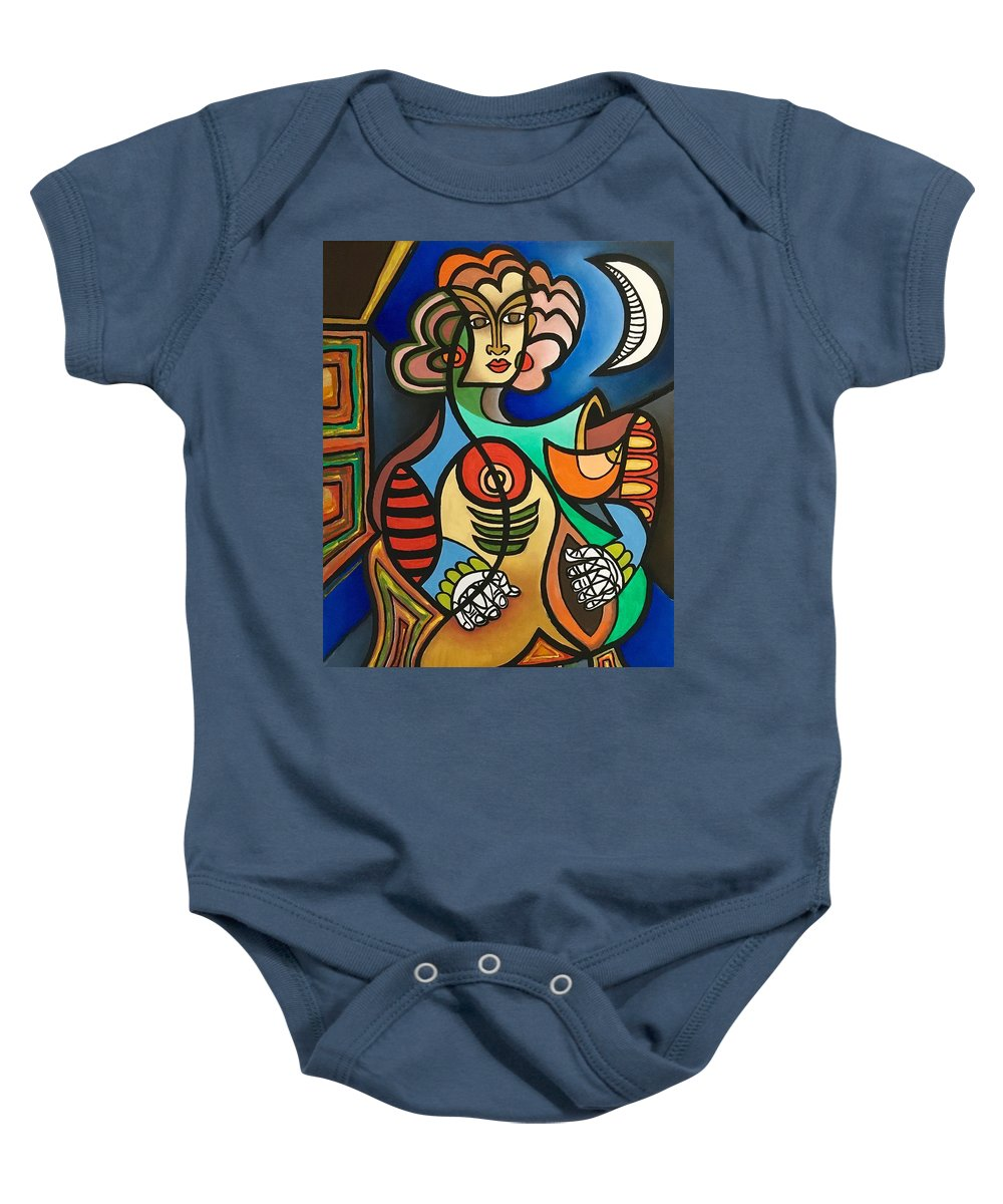 Baby Onesie featuring the painting Talking To The Moon by Giovanni Pandolfi