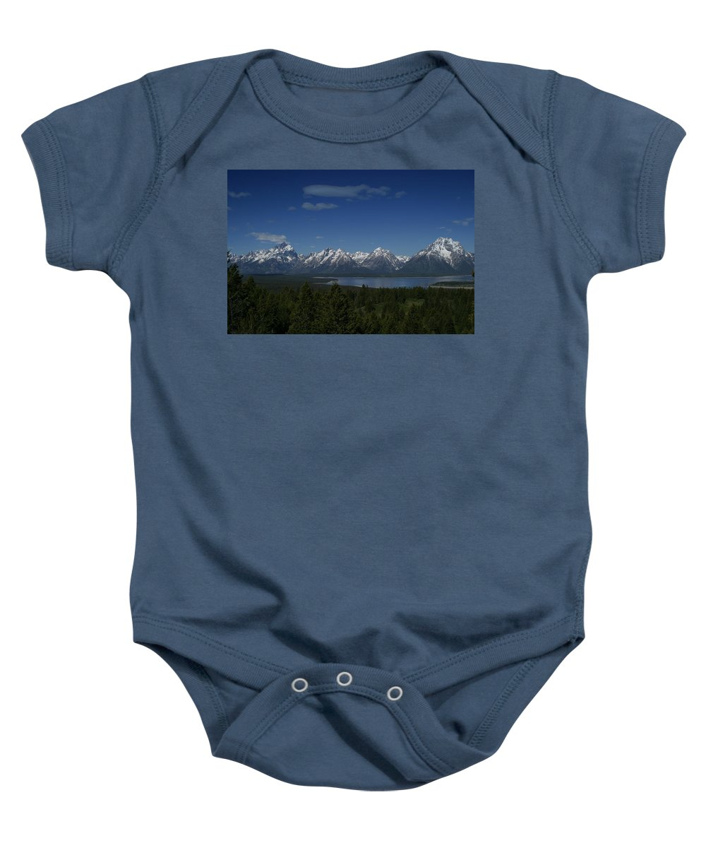 Mountains Baby Onesie featuring the photograph Tetons In Blue by Shari Jardina