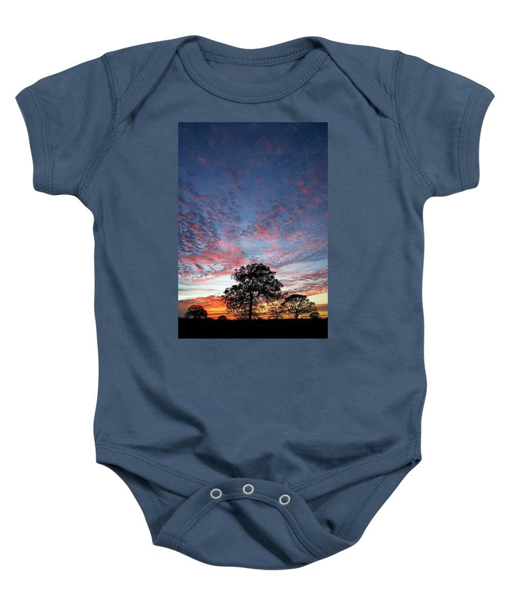 Tree Baby Onesie featuring the photograph Texas Sunset by Skip Hunt
