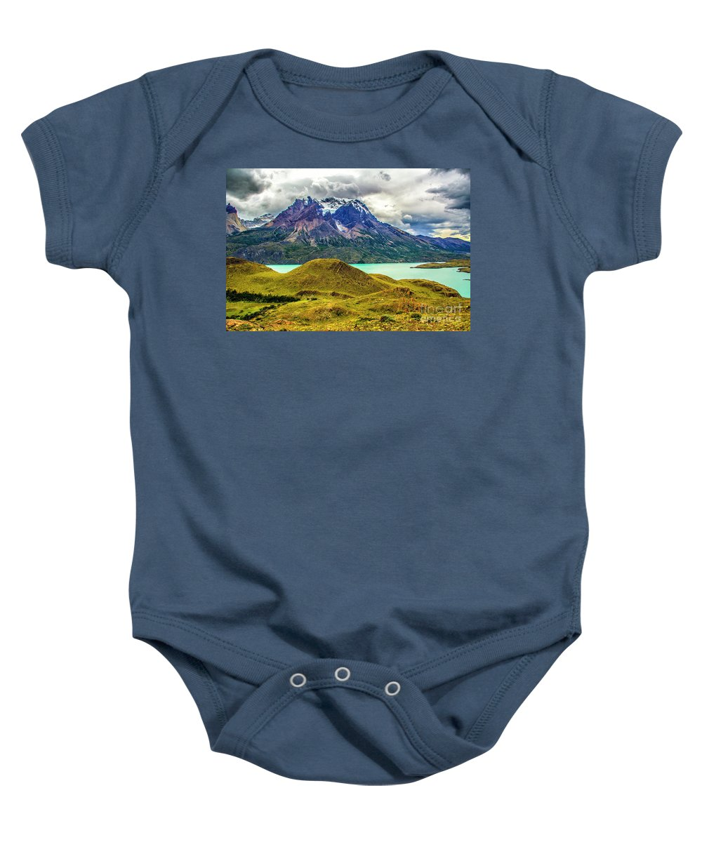 Patagonia Baby Onesie featuring the photograph The Blue Massif by Roberta Bragan
