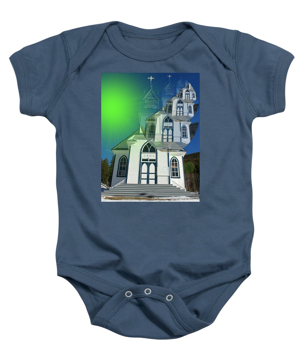British Columbia Baby Onesie featuring the photograph The Church At Moyie Springs by Jeff Swan