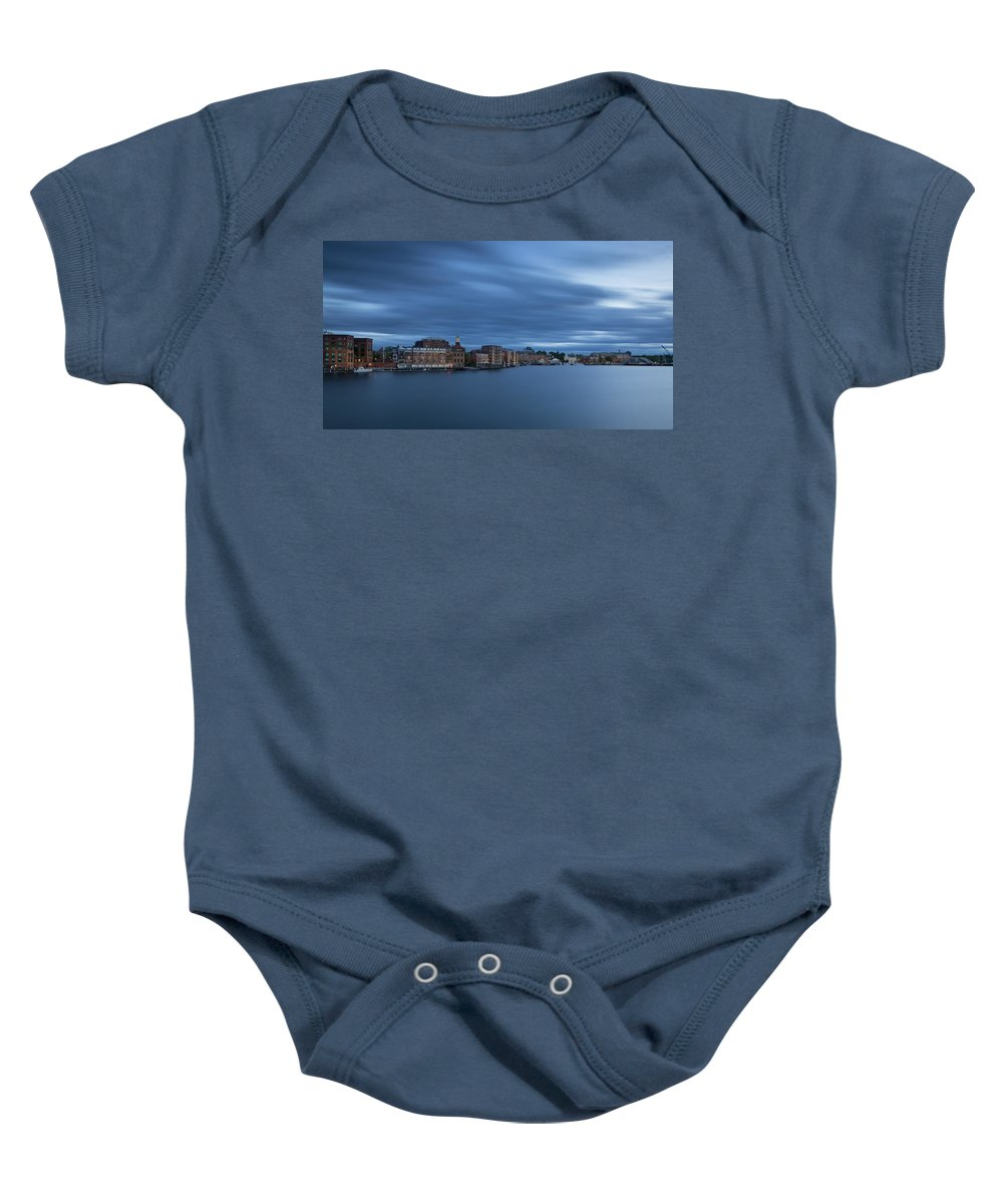 Portsmouth Nh Baby Onesie featuring the photograph ...the Coolness Of Portsmouth...blue Hour... by James Merecki