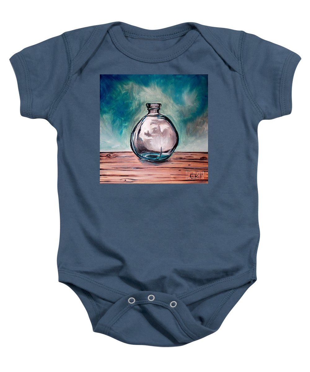 Glass Baby Onesie featuring the painting The Glass Bottle by Elizabeth Robinette Tyndall