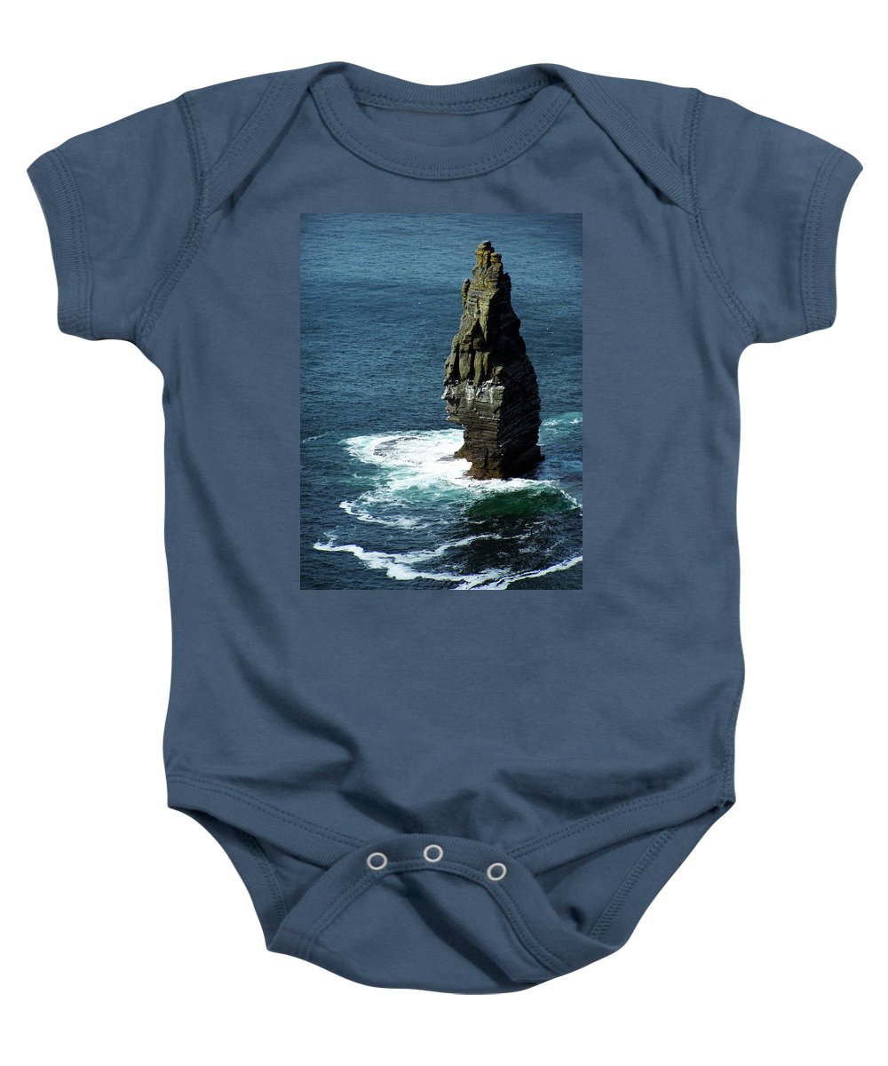 Irish Baby Onesie featuring the photograph The Great Sea Stack Brananmore Cliffs Of Moher Ireland by Teresa Mucha