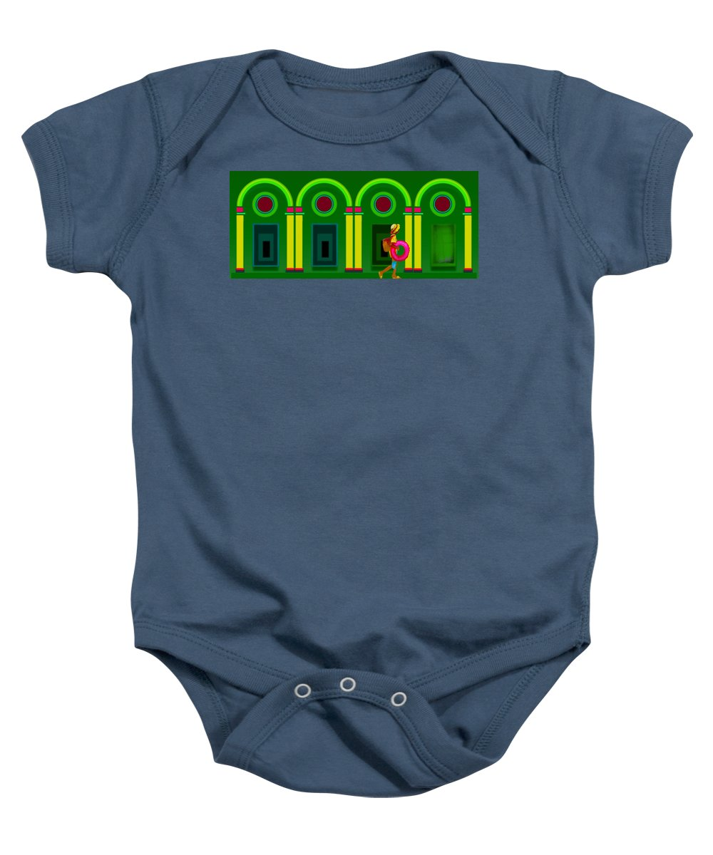 Classical Baby Onesie featuring the digital art The Green Door by Charles Stuart
