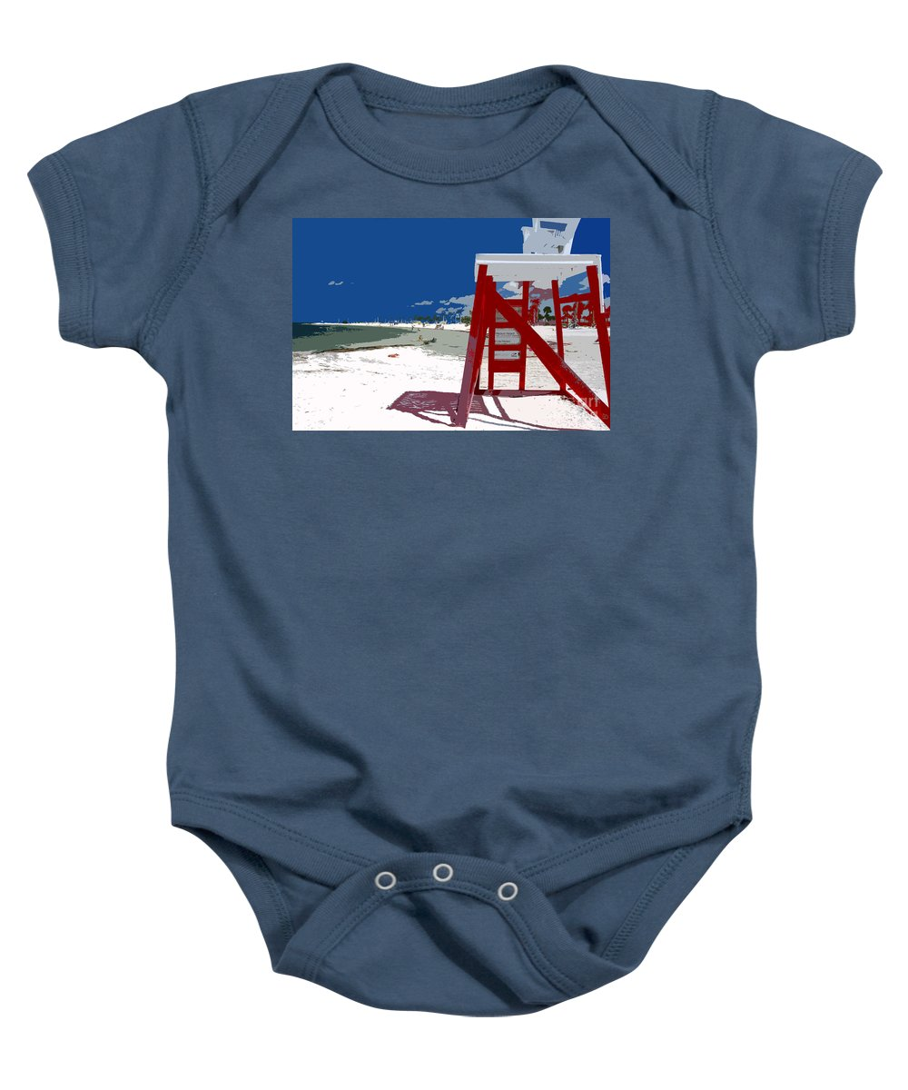 Lifeguard Stand Baby Onesie featuring the painting The Lifeguard Stand by David Lee Thompson