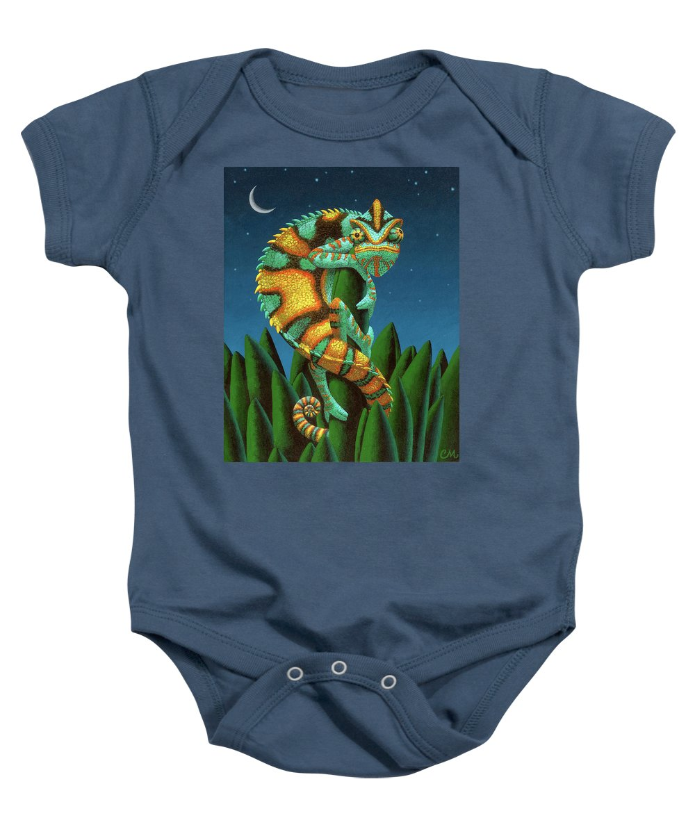 Chameleon Baby Onesie featuring the painting The Night Watch by Chris Miles