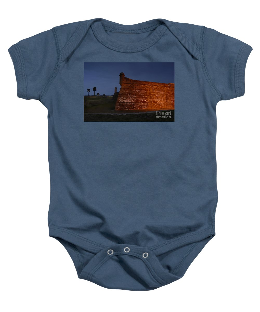Castillo Baby Onesie featuring the photograph The Red Castillo by David Lee Thompson