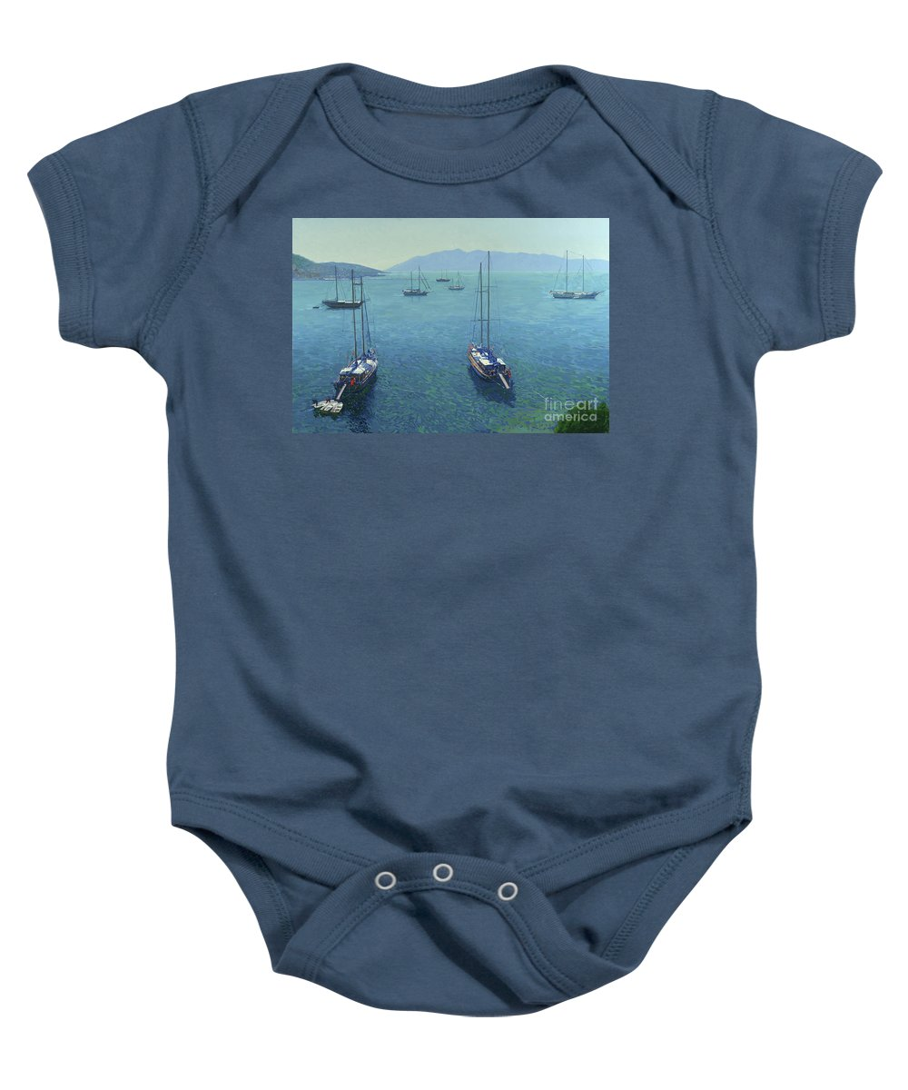 Yachts Baby Onesie featuring the painting The Yachts by Simon Kozhin