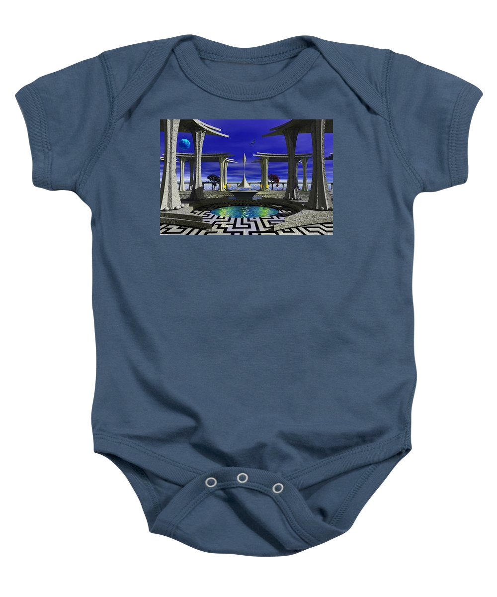 Temple Baby Onesie featuring the photograph The Zang Of Zing by Mark Blauhoefer